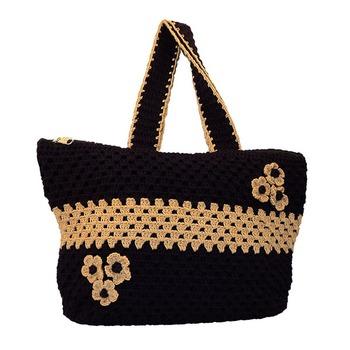 Six Flower Crochet Handbag | Navy Blue