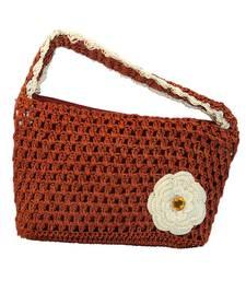 Buy One Flower Crochet Clutch | Bright Brown handbag online