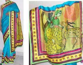 Turquoise handloom chanderi silk saree