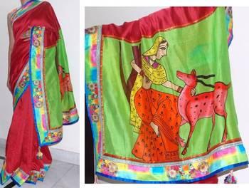 Maroon handloom Chanderi silk saree