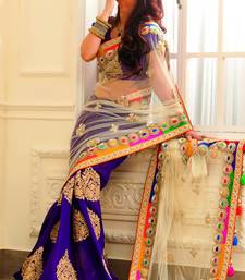 Buy chiku net  and  blue silk georgette worked bridal saree with blouse bridal-saree online
