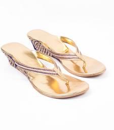 Buy GOLDEN  PEACOCK  BLUE WORK WEDGES eid-footwear online