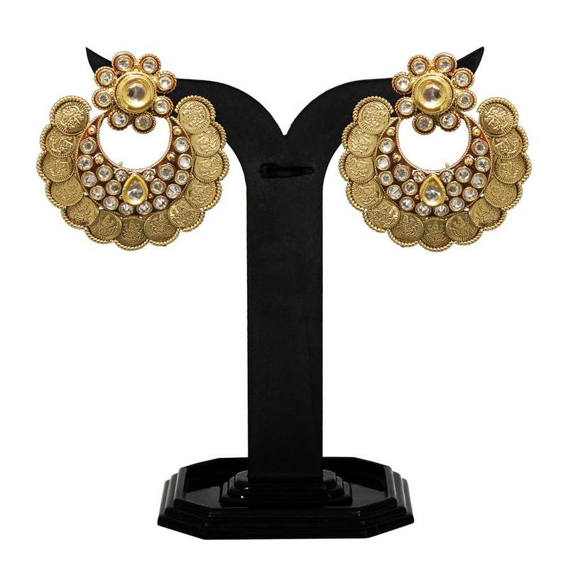 Buy Modern Style & Antique Design Gold Plated Coin Earring Set for ...