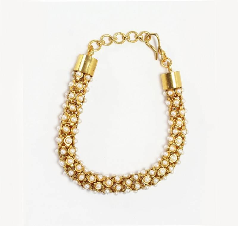 Buy Modern Style & Designer hand bracelet in white pearl with ...