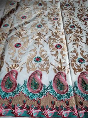 kashmir designer embroidery zari work dress material in cambric cotton with dupatta