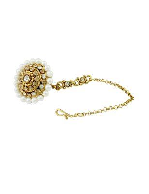 Golden Beige Polki Stones Bor Tika Jewellery for Women - Orniza