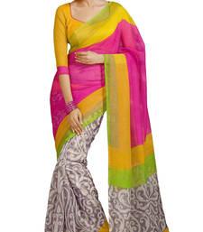 Buy Multicolor printed art_silk saree with blouse art-silk-saree online