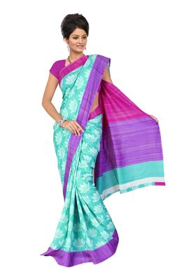 Fabdeal Turquoise & Purple Bhagalpuri Silk Saree With Blouse Piece