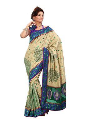 Fabdeal Sea Green Manipuri Silk Saree With Blouse Piece