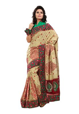 Fabdeal Green & Red Manipuri Silk  Saree With Blouse Piece