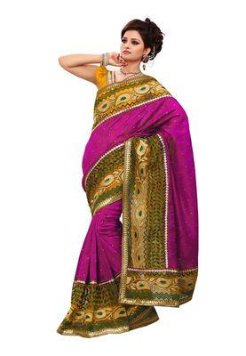 Fabdeal Pink Bhagalpuri Jacquard Silk Saree With Blouse Piece
