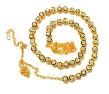 Kundan single  liner pearl juda waist belly hip chain belt kamarband keychain