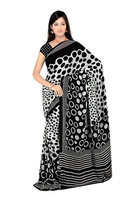 Fabdeal White & Black Saree With Blouse Piece