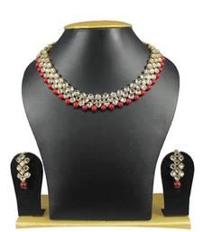Buy Simple and Trendy Kundan Necklace Set In Maroon necklace-set online