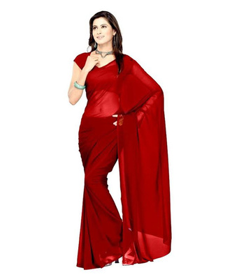 Crimson plain georgette saree with blouse