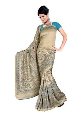 Fabdeal Blue Pashmina Silk Printed Saree With Blouse Piece