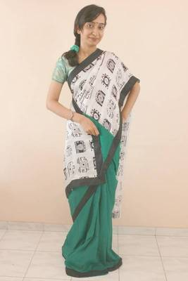 Green Pure Silk Camera Saree