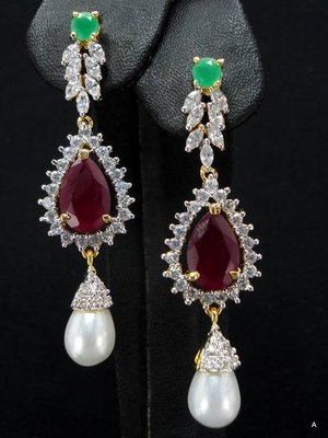 Red and green stone studded CZ ear ring