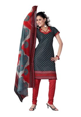 Cotton Bazaar Casual Wear Black , Blue & Red Colored Cotton Dress Material