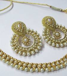 Buy Golden pearl and pearl polki necklace set eid-jewellery online