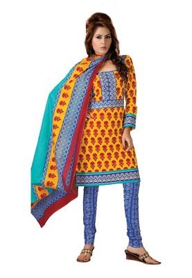 Cotton Bazaar Casual Wear Yellow & Blue Colored Cambric Cotton Salwar Kameez