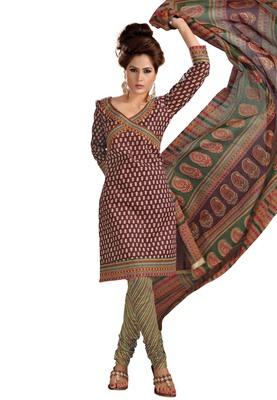 Cotton Bazaar Casual Wear Brown & Yellow Colored Cambric Cotton Salwar Kameez
