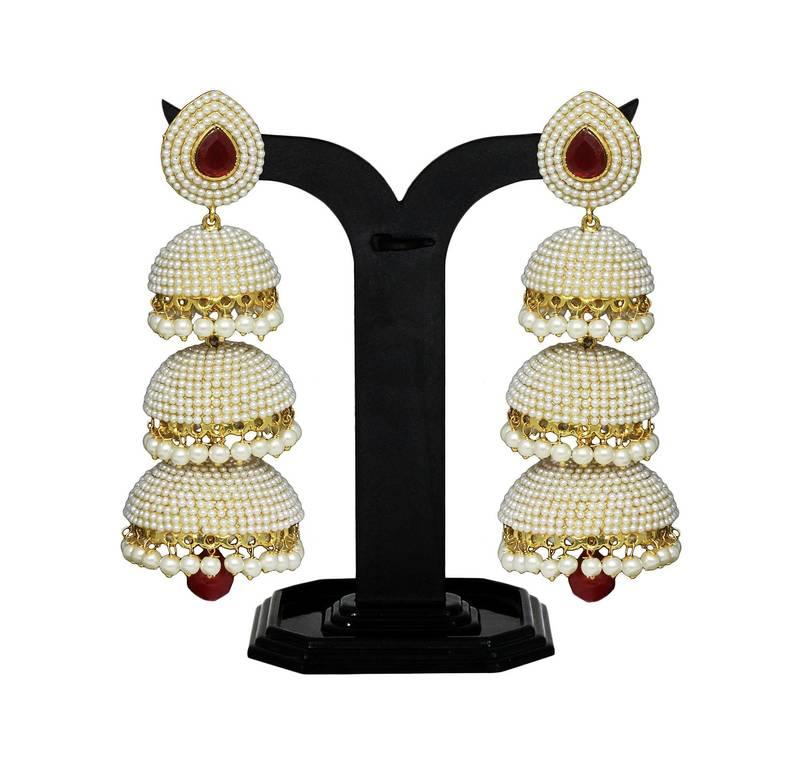 Buy Designer White Pearl Jhumka/Earrings Set with Beautiful Red ...