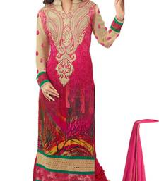 Buy Pink and cream georgette embroidered semi_stitched salwar with dupatta party-wear-salwar-kameez online