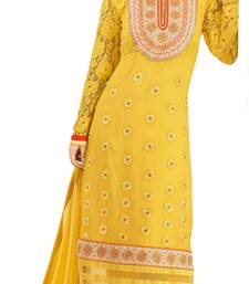 Buy Yellow net embroidered semi_stitched salwar with dupatta party-wear-salwar-kameez online