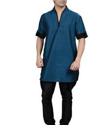 Buy turquoise cotton-linen  kurta kurta-pajama online