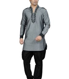 Buy grey cotton-linen  kurta kurta-pajama online