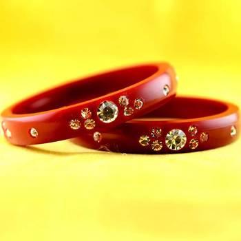 rajasthani acrylic plastic red colour bangal size-2.4,2.6,2.8