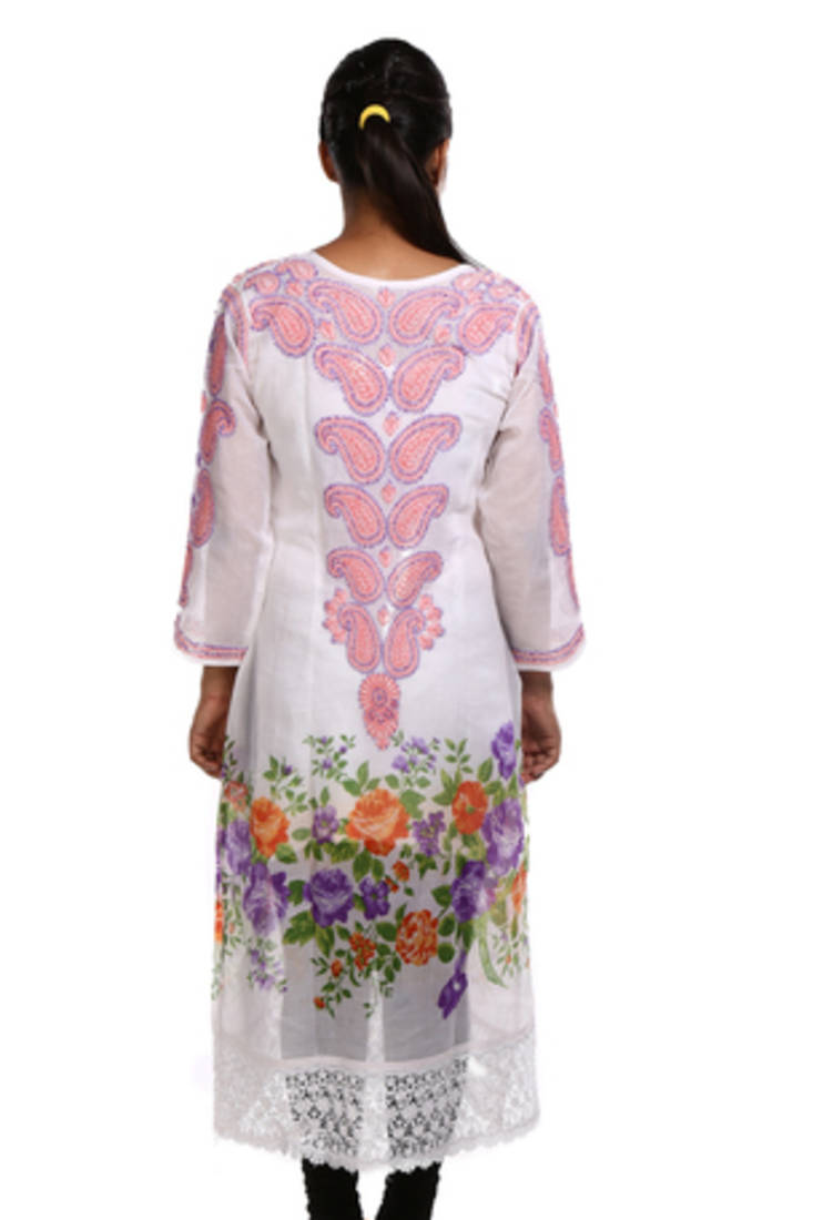Buy ada hand embroidered extra small white cotton lucknow