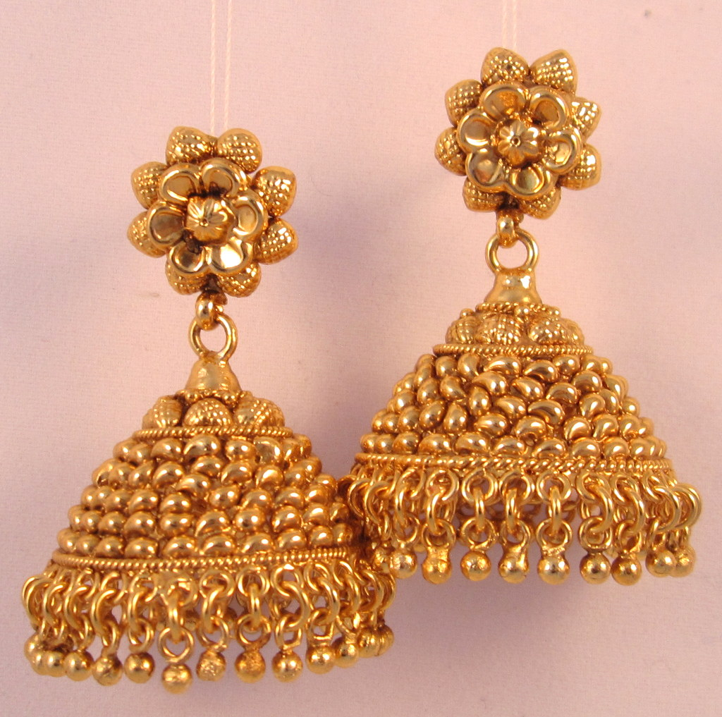 product earrings gold with rings color jhumka water jewellery