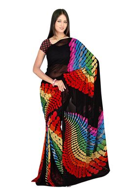 Fabdeal Black & Red Colored Faux Georgette Saree With Unstiched Blouse