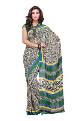 Fabdeal Black & Blue Colored Apple Georgette Saree With Unstiched Blouse