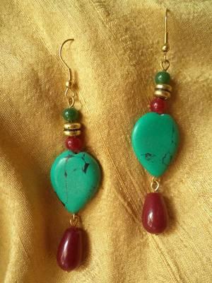 Turquoise Heart earrings -Aliff Lailaa-01018