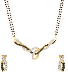 Buy Oviya Gold Plated Ambrosial Mangalsutra Tanmaniya Set with Black and White Crystals for Women mangalsutra online