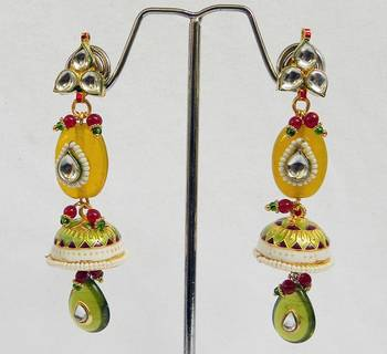 minakari earring with kundan
