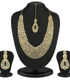 Buy Dazzling Gold Plated Australian Diamond Necklace Set eid-jewellery online