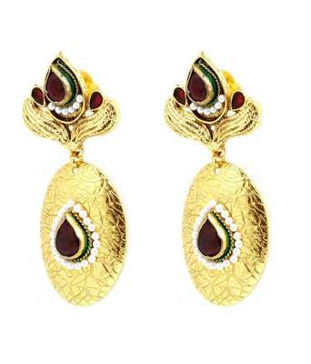 Aradhyaa Oval Gold Plated Stone Studded Earrings