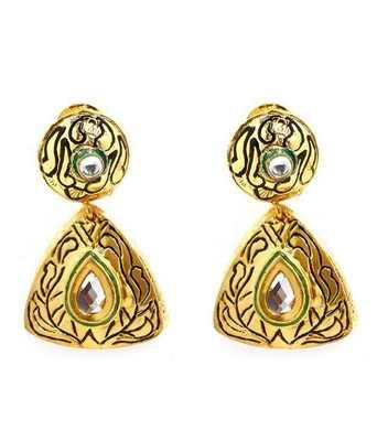 Aradhyaa Triangular Gold Plated Kundan Earrings