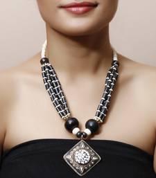 Buy Black White Square Tibetean necklace Necklace online