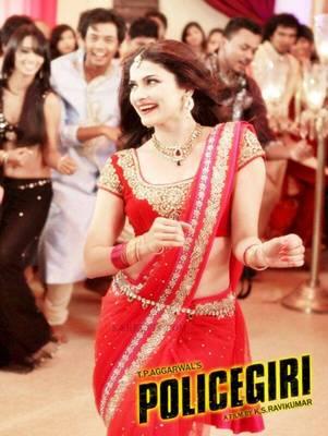 Red Prachi desai saree