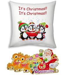 Buy Printed Designer Soft White Cushion christmas-gift online