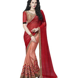 Buy Red And Pastel Orange Velvet Work and Zari and Stone And Patch Border Work Net And Faux Satin Chiffon saree with blouse other-saree online