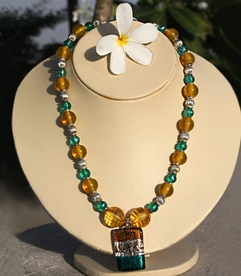 Mustard, Turquoise and Silver Necklace