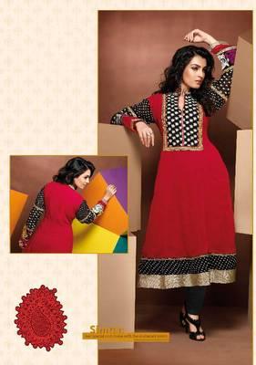 ISHIN Cotton Red kurti Simran_L