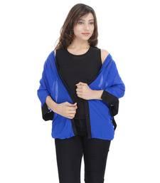 Buy Blue Chiffon Women Shirt with Black Inner girls-jackets-coat online