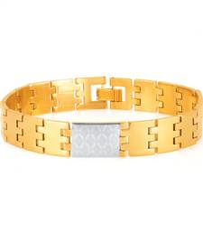 Buy Sleek Gold and Rhodium Plated Bracelet For Men gifts-for-dad online